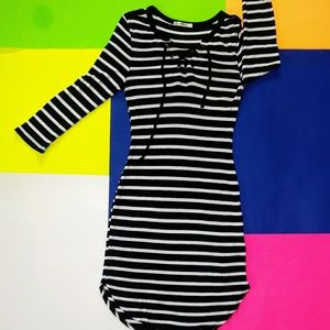 Heart and Hips Striped Knit Bodycon Dress
